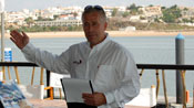 Josh Hall welcomes the sailors to Portimão
